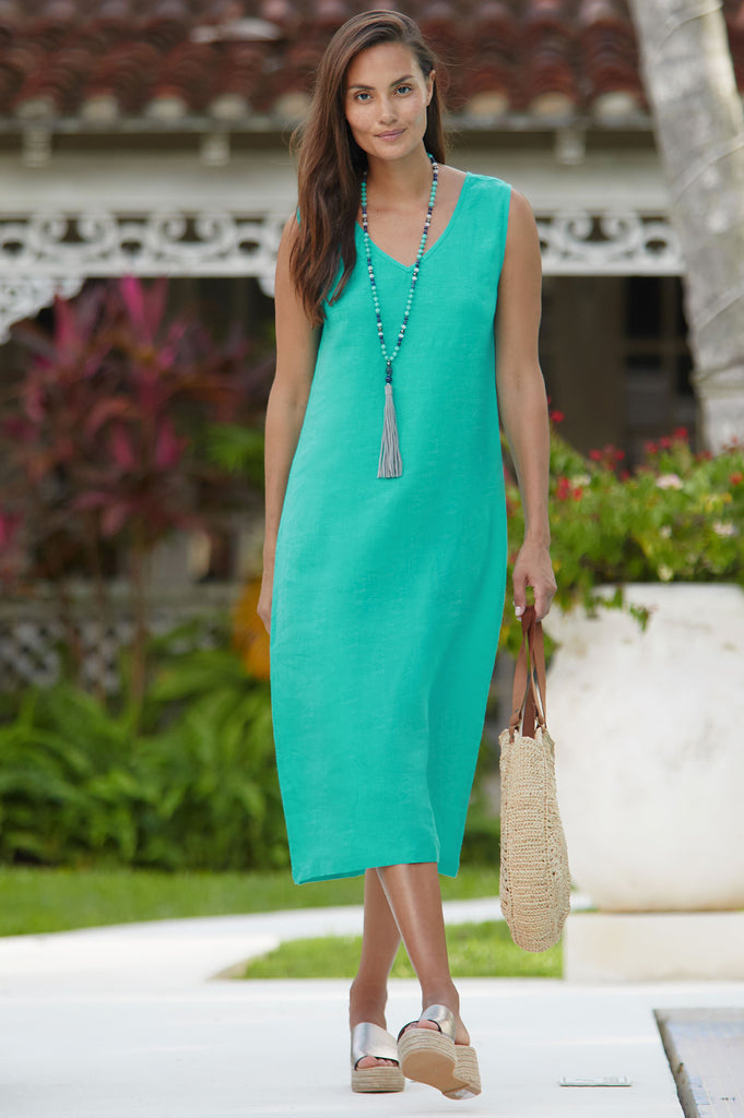 Samara Linen Midi Dress | Emerald - Aspiga