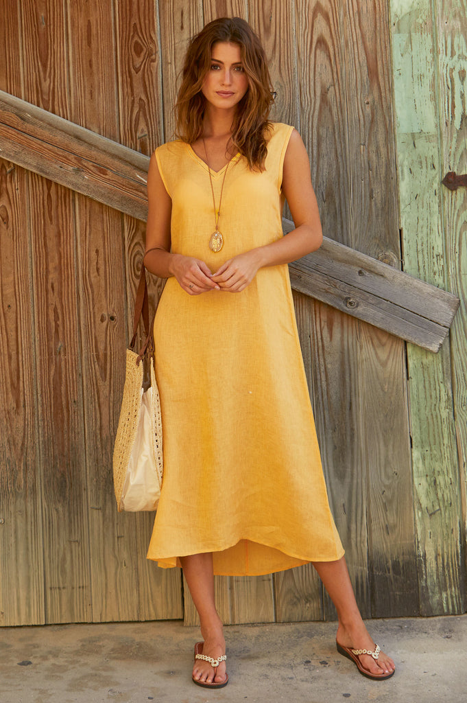 Samara Linen Midi Dress | Yellow