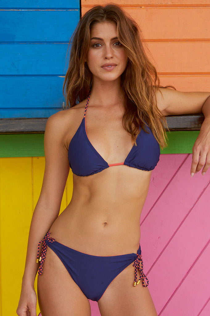 Santa Barbara Reversible Bikini with Tunnel Hipster Bottoms by Helen Jon | Navy/Coral