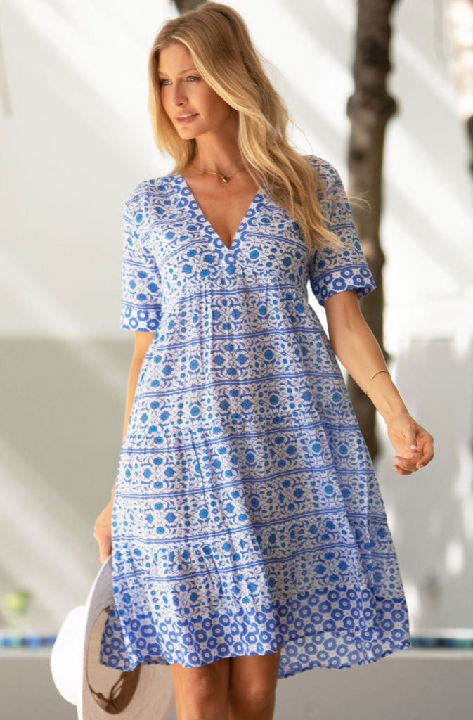 Santorini Organic Cotton Dress | White/Blue
