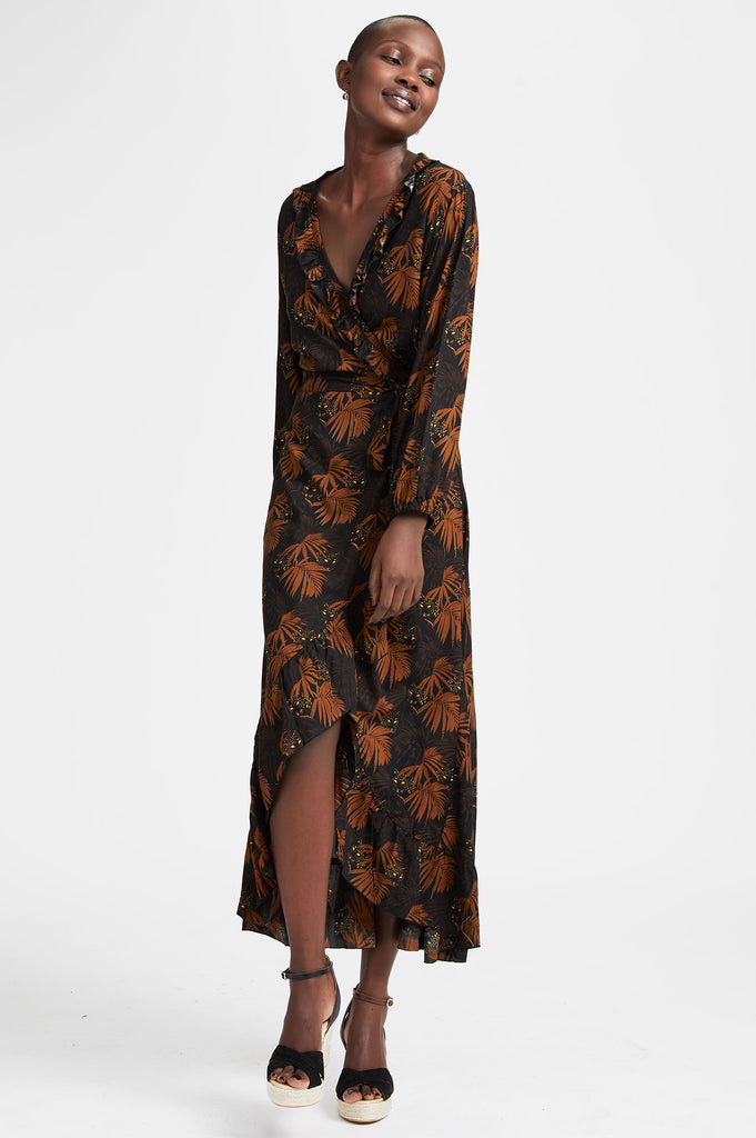 Serena Wrap Frill Dress | Burnt Orange/Black - Aspiga