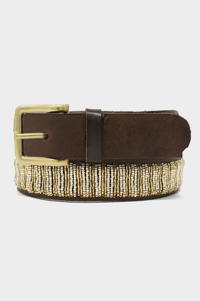 Full Beaded Leather Belt | Light Gold