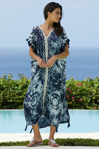 Julie Tie Dye Long Kaftan by Skemo | Navy