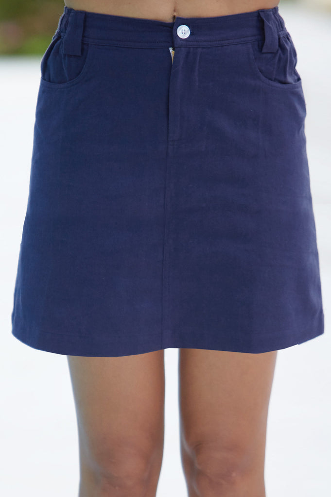 Sol Organic Cotton Mini Skirt | Navy - Aspiga