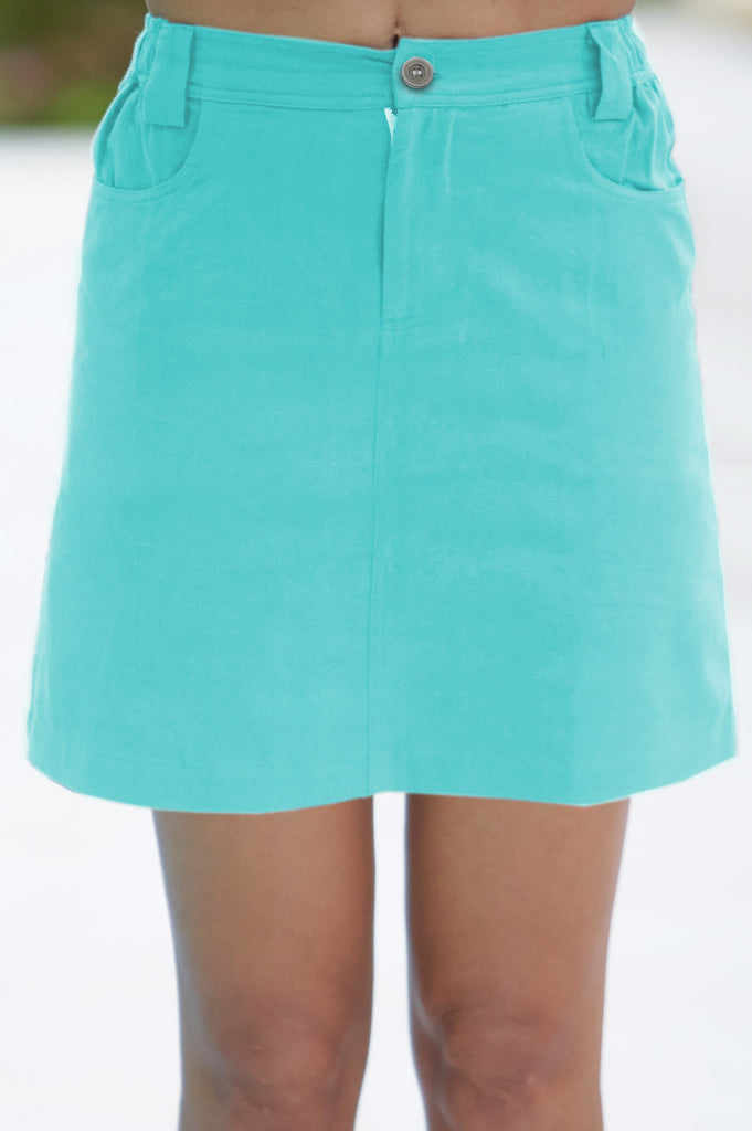 Sol Organic Cotton Mini Skirt | Turquoise - Aspiga