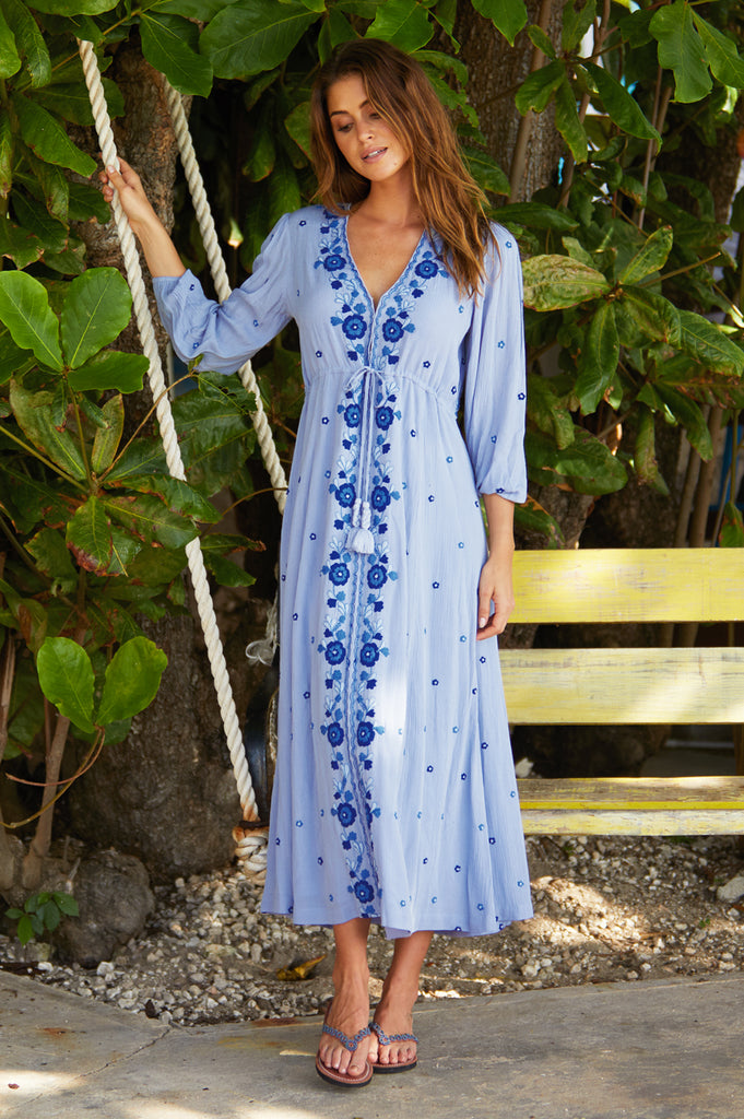 Sonia Embroidered Midi Dress | Blue