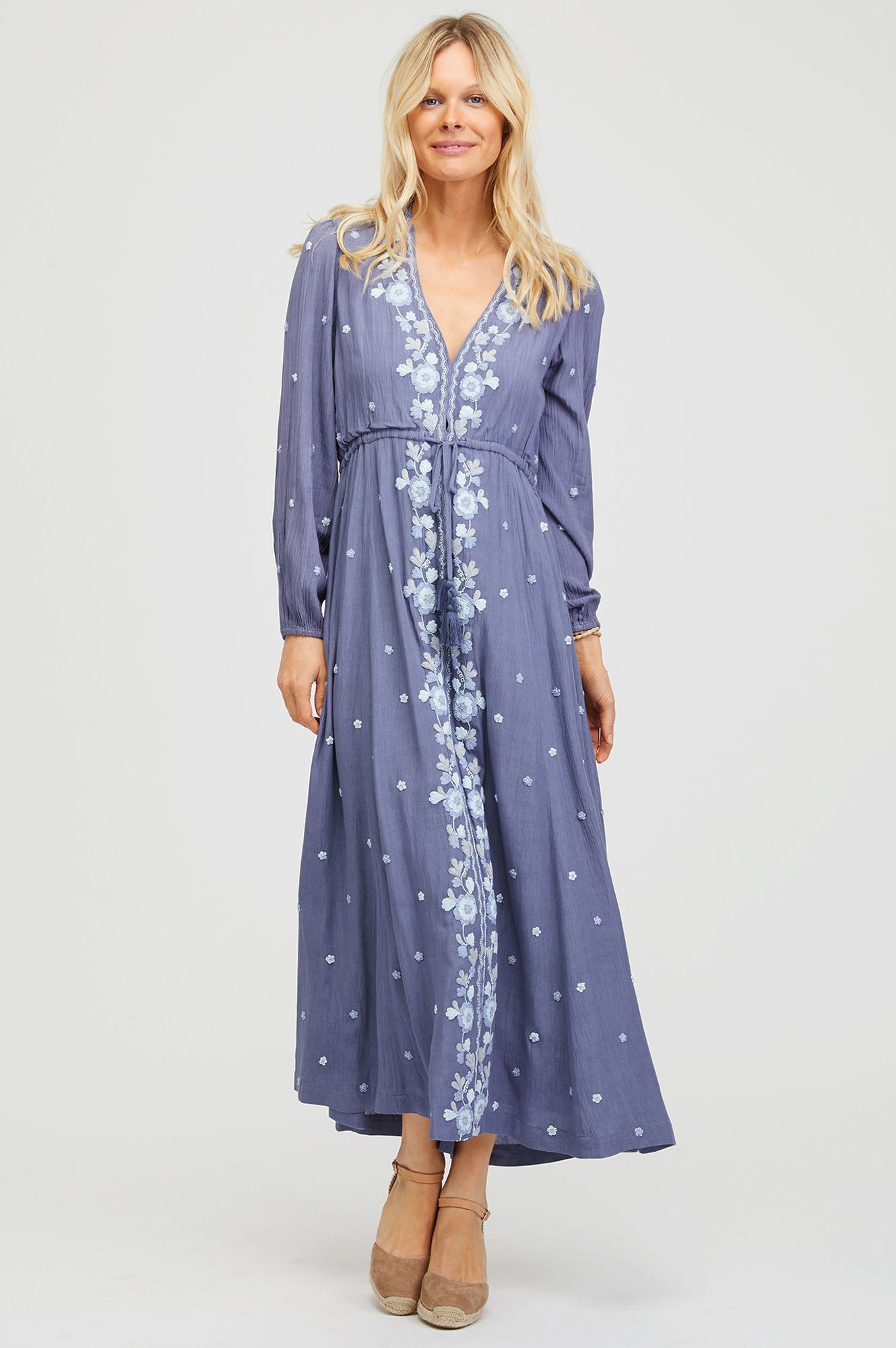 560036ada8af Sonia Embroidered Midi Dress Dusty Blue