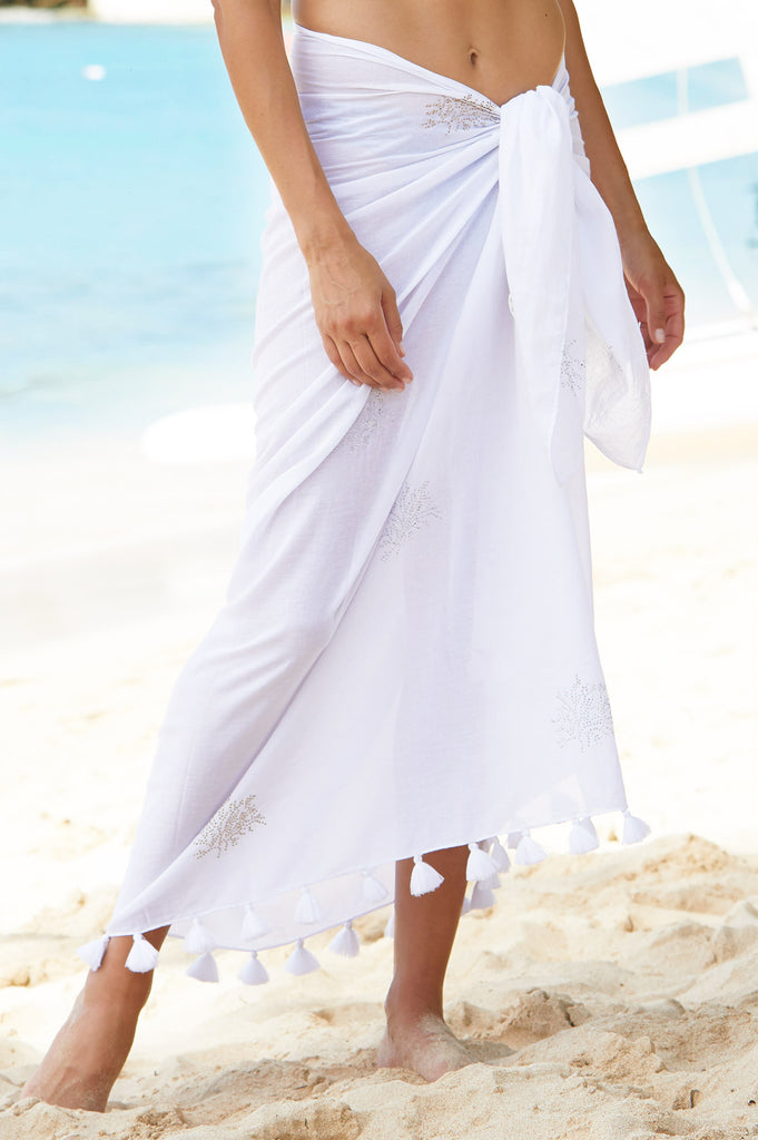St Kitts Organic Cotton Sarong | White - Aspiga