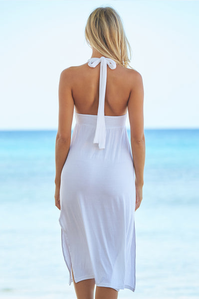 St Tropez 3/4 Halter Dress | White