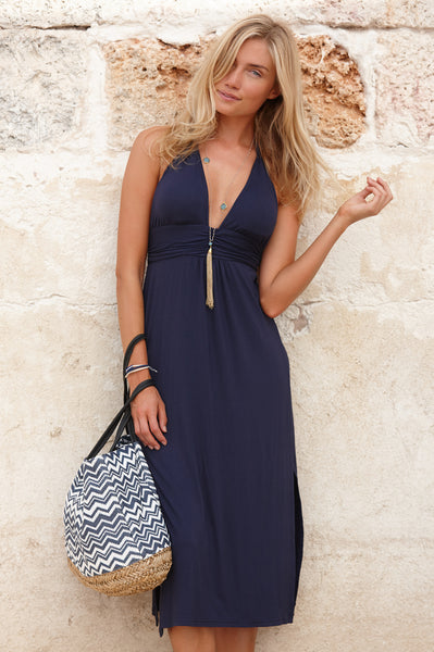 St Tropez 3/4 Halter Dress | Navy