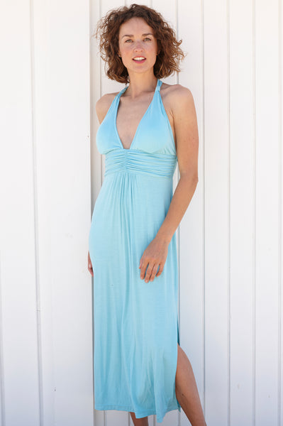St Tropez 3/4 Halter Dress | Sea Green