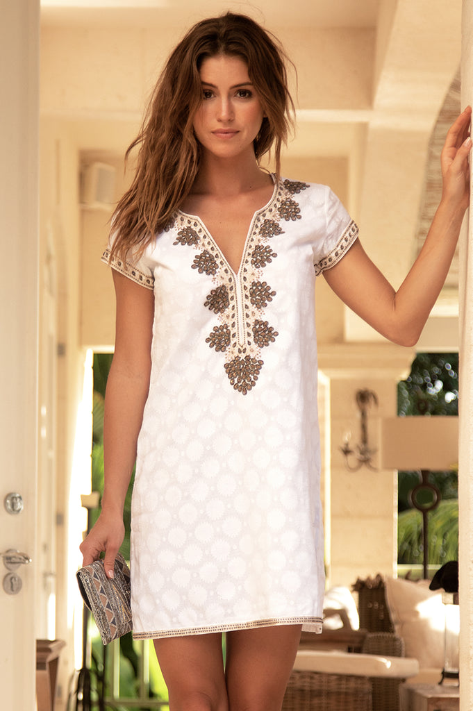 Stella Embroidered Dress by Sulu | White - Aspiga