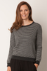 Striped Cashmere Blend Jumper | Charcoal