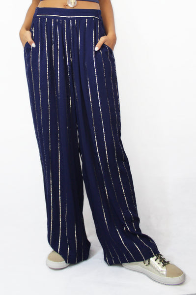 Striped Trousers | Navy/Gold