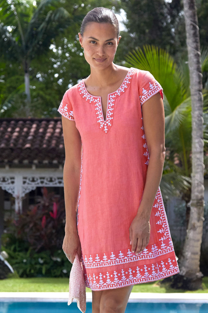 Como Embroidered Linen Dress by Sulu | Lobster Pink/ White - Aspiga