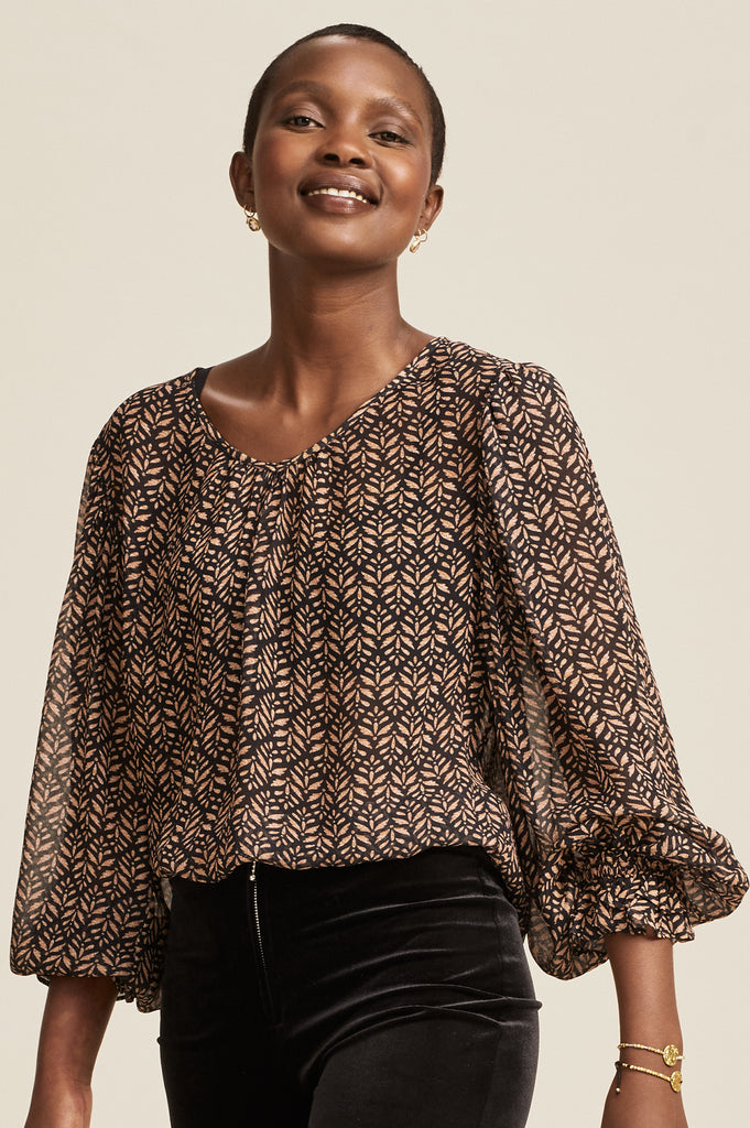 Tanja Blouse | Black/Taupe