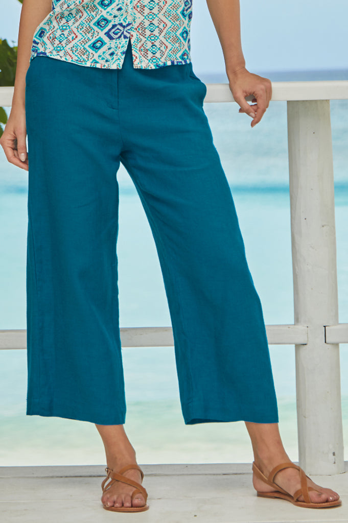 Linen Cropped Trousers | Teal
