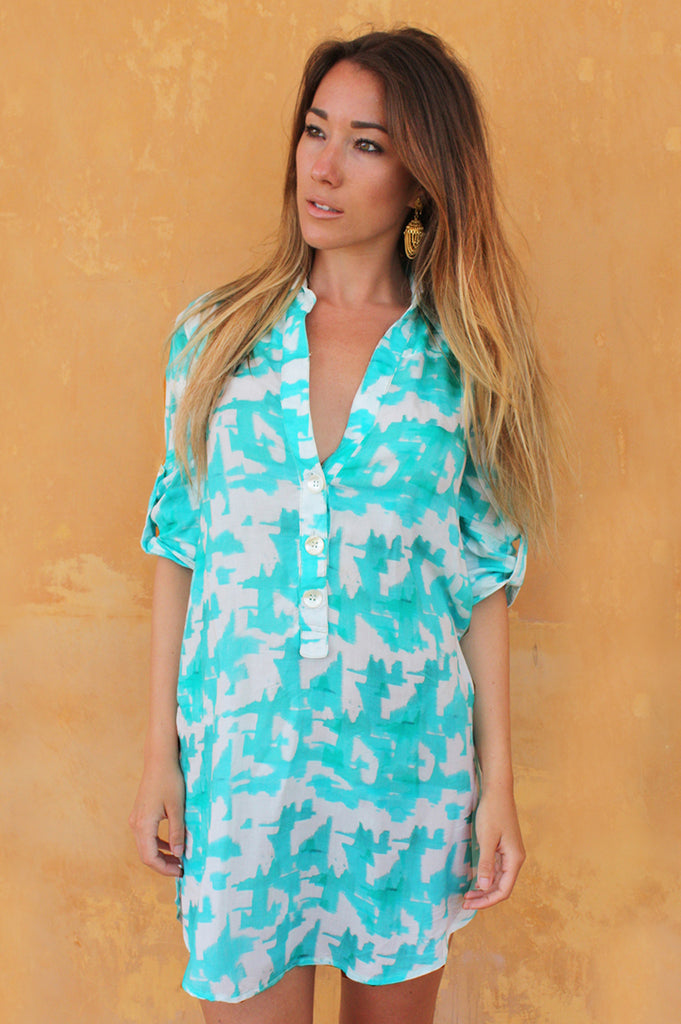 Sophia Shirt Dress | Turquoise