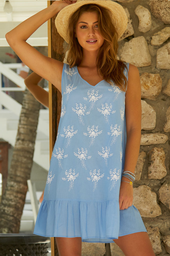 Lydia Embroidered Swing Dress | Powder Blue - Aspiga