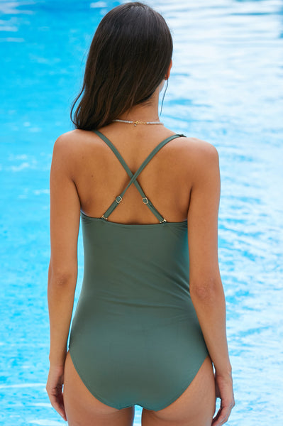 Twist Swimsuit by Moontide | Khaki
