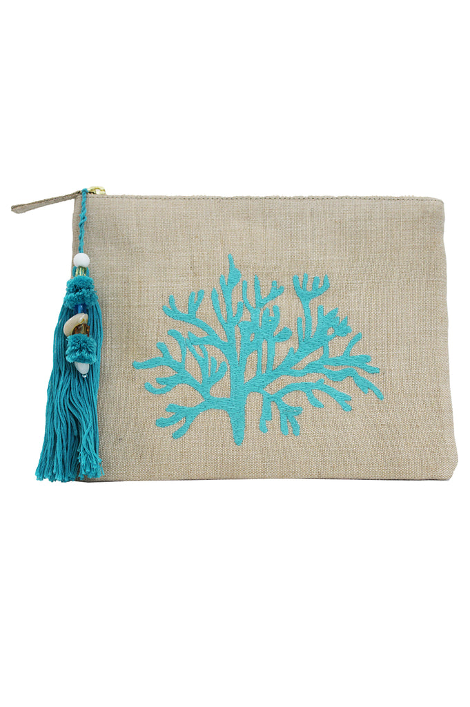 Coral Clutch | Natural/Sea Green