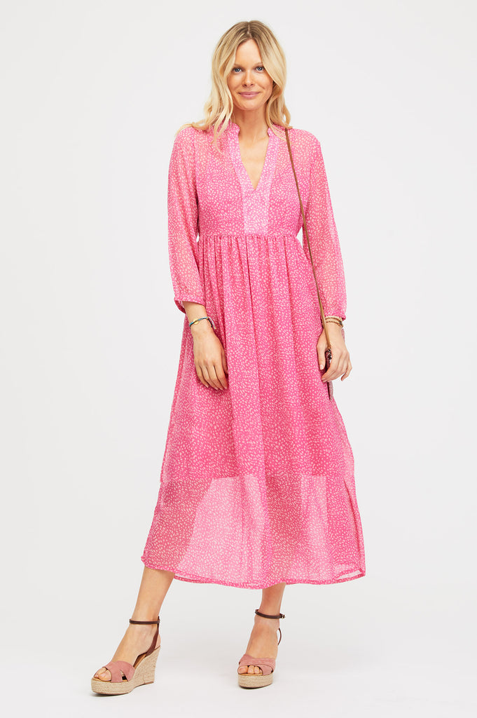 Vienna Chiffon Dress | Raspberry/Ecru