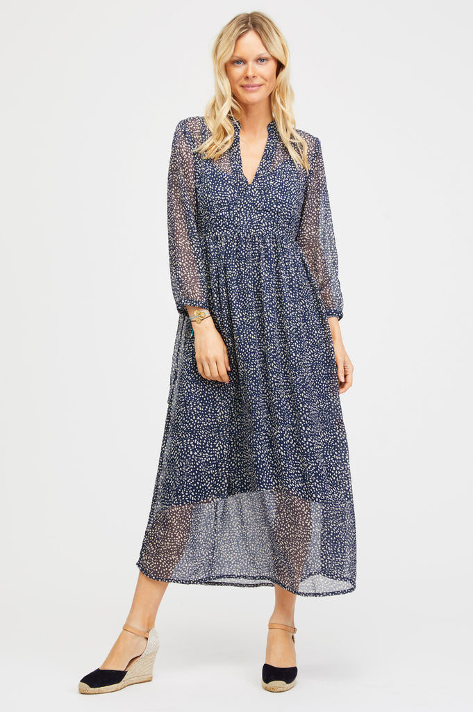 Vienna Chiffon Dress | Navy/Ecru