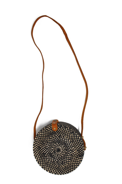 Round Wicker Shoulder Bag | Black