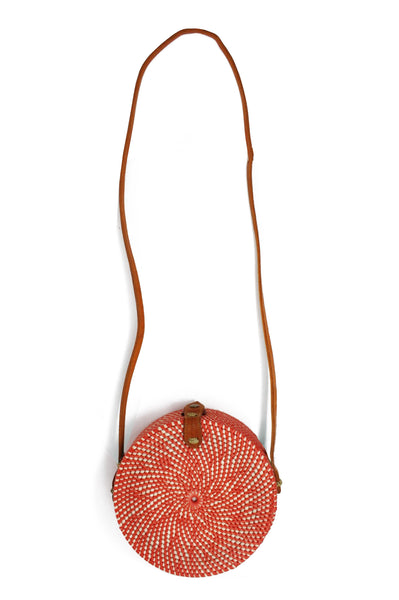 Round Wicker Shoulder Bag | Coral