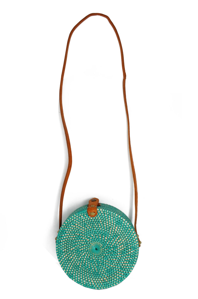 Round Wicker Shoulder Bag | Turquoise