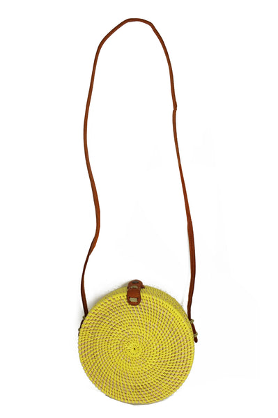 Round Wicker Shoulder Bag | Yellow