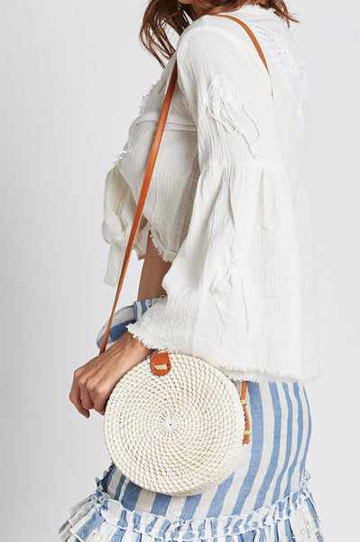 Round Wicker Shoulder Bag | White