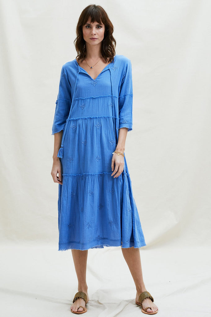 Willow Embroidered Organic Cotton Dress | Marina Blue