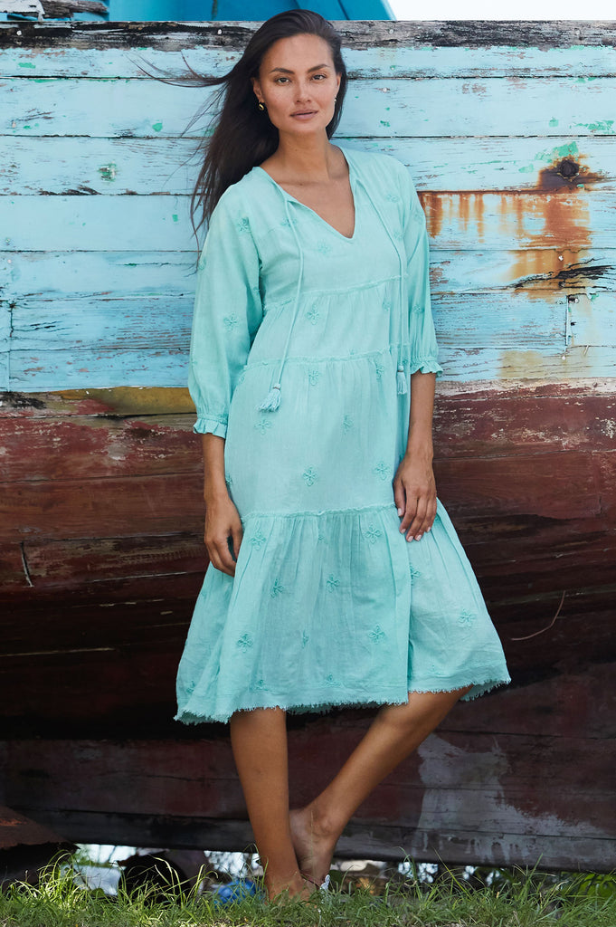 Willow Boho Organic Cotton Midi Dress | Sea Green - Aspiga