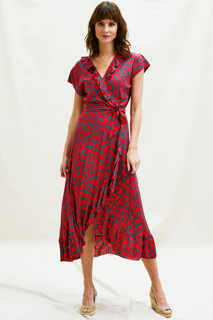 Wrap Frill Midi Dress | Leopard Red/Grey