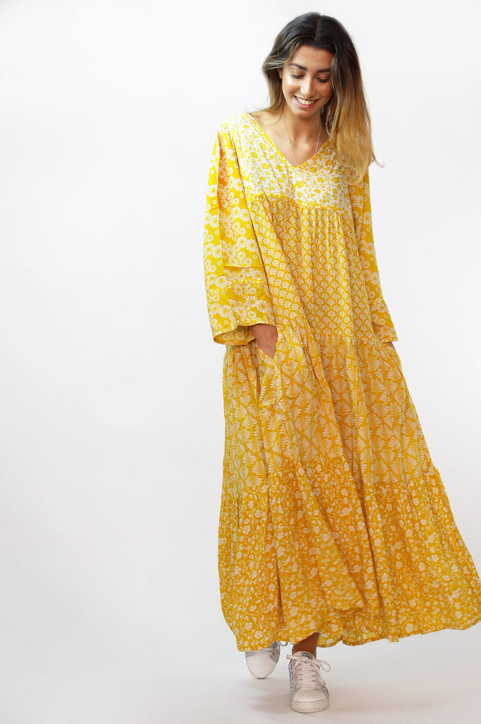 Oversized Tiered Maxi Dress | Yellow