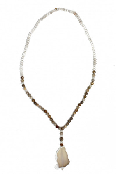 Agate Long Stone Necklace by Pink Powder | Beige/White