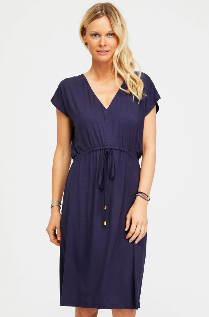Alba Cotton Dress | Navy - Aspiga