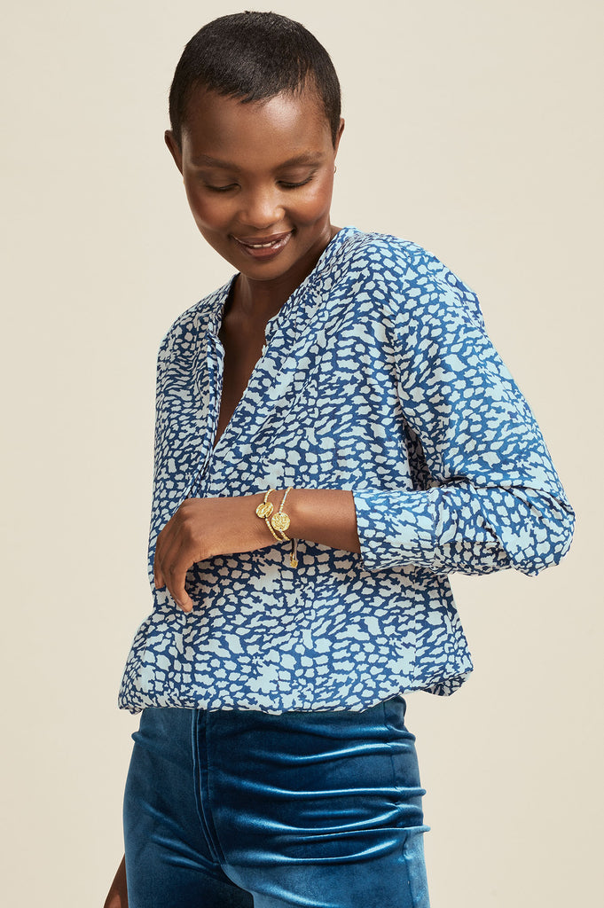 Alianne LENZING™ Viscose Blouse | Teal/Light Teal