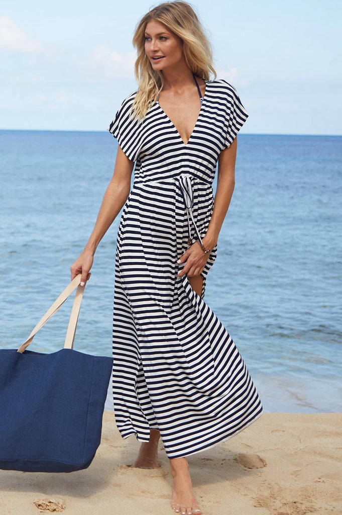 Allure Maxi Dress by Pia Rossini | Navy/White