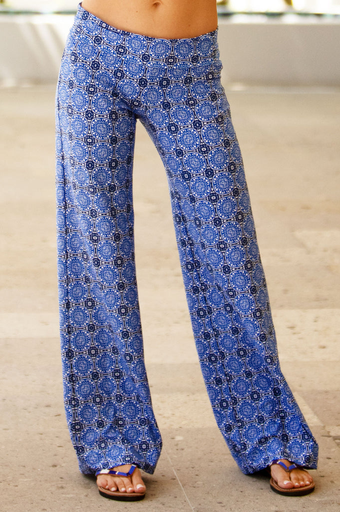 Antibes Fold-Over Beach Pants by Helen Jon | Blue - Aspiga