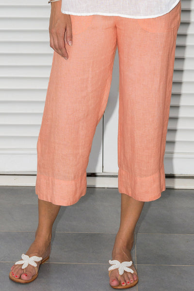 Amira Cropped Linen Trousers | Light Peach