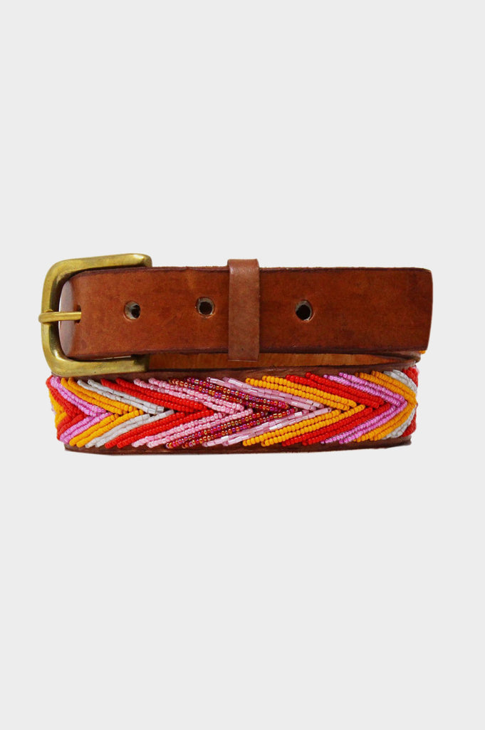 Arrow Leather Belt | Pink/Orange