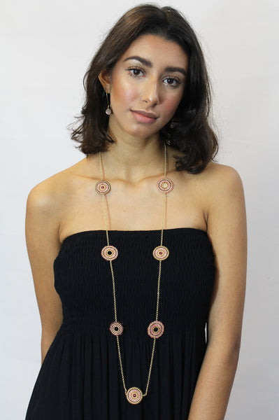 Azuni Long Chain Disc Necklace | Raspberry/Red