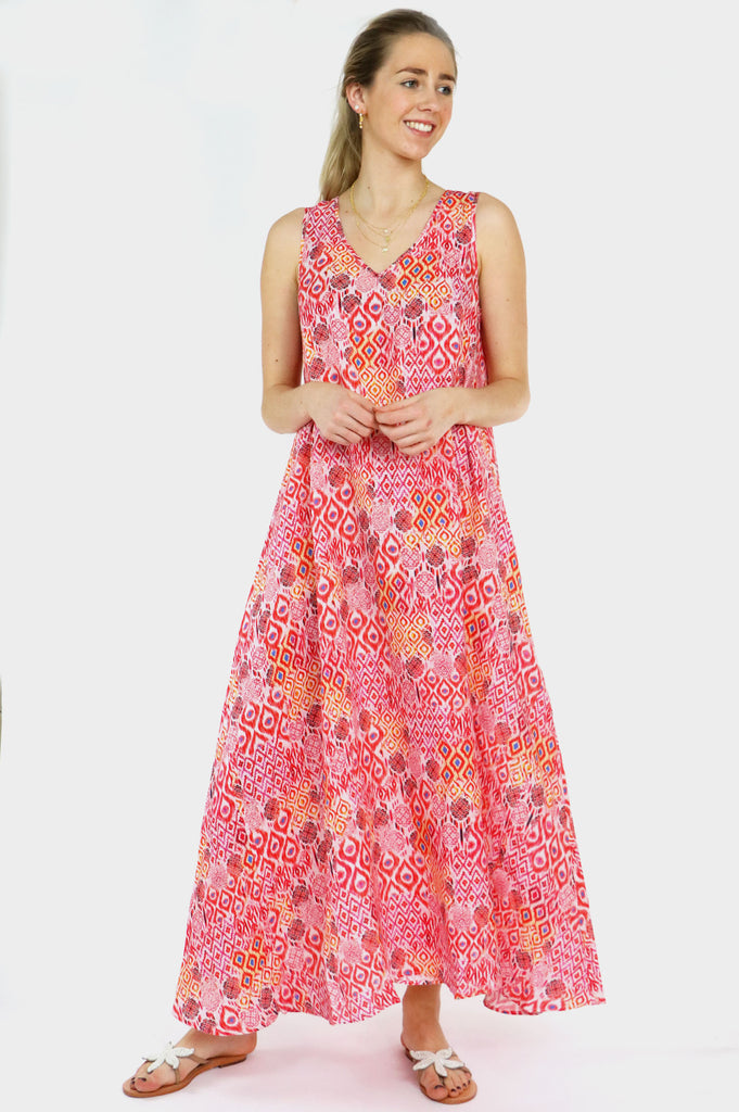 Bailey Maxi Dress | Red/ Pink