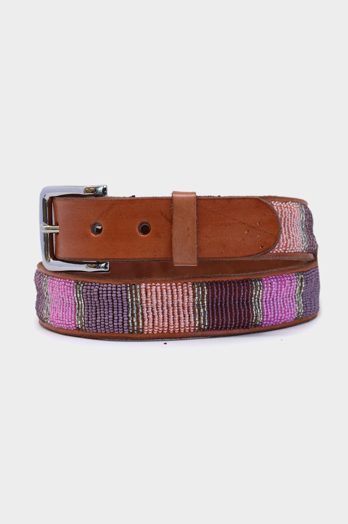 Block Leather Belt | Dusty Pink