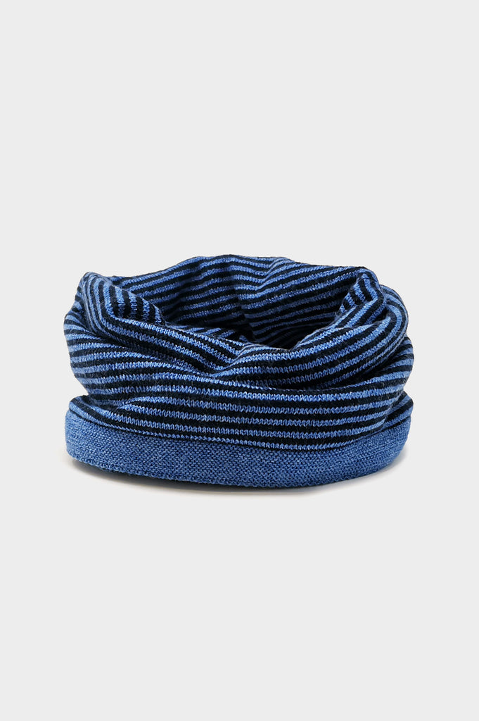 Merino Stripe Neck Warmer | Blue/Navy
