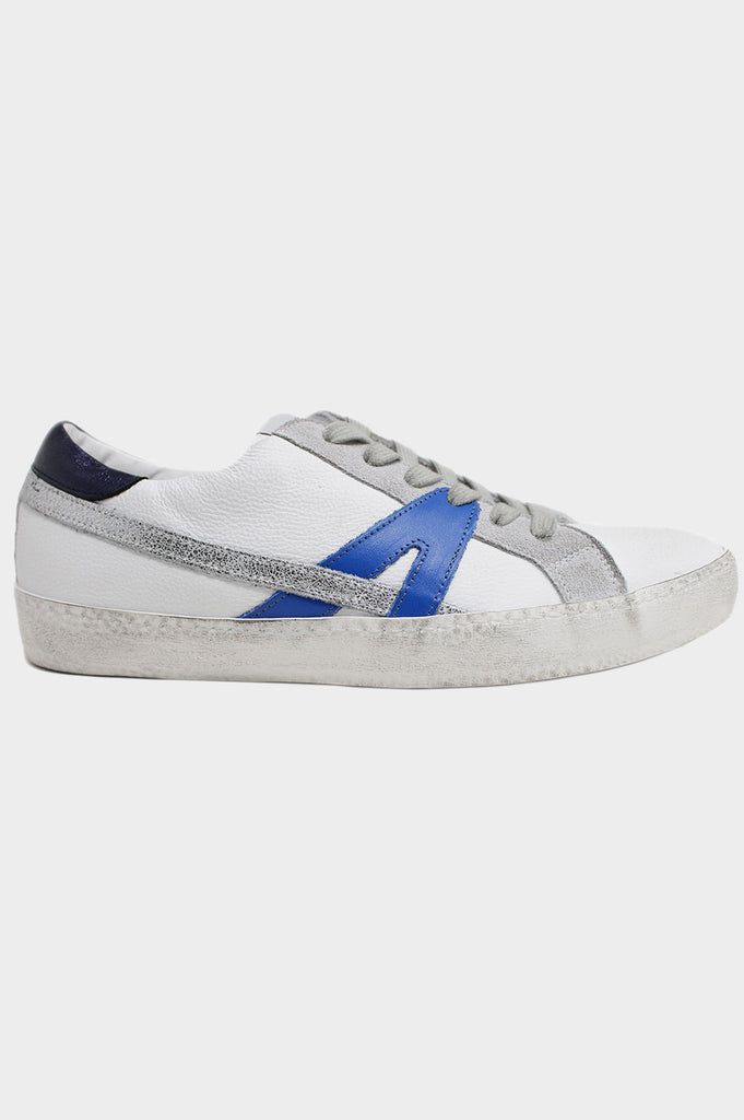 Leather Low-Top Trainers | White/Blue - Aspiga