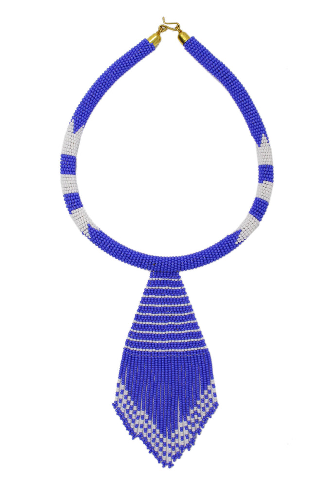 Nala Beaded Maasai Necklace | Blue Maasai Blue/White - Aspiga