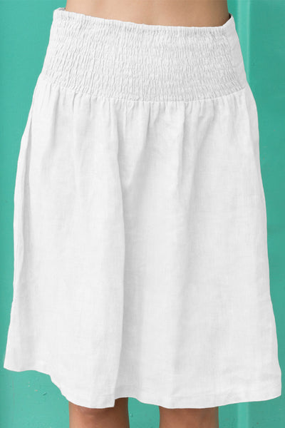 Bobbin Linen Skirt | White